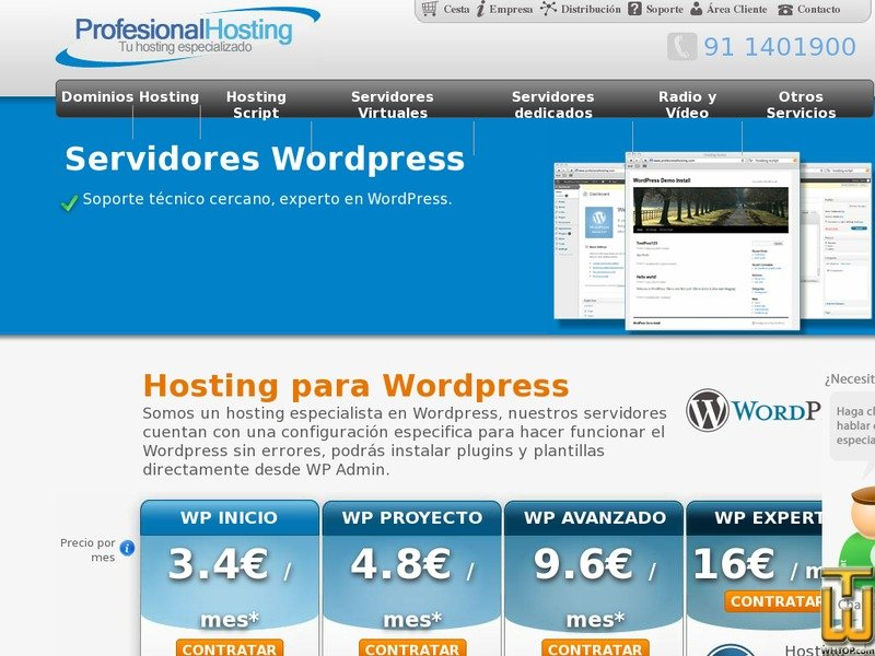 Screenshot of Hosting Wordpress from profesionalhosting.com