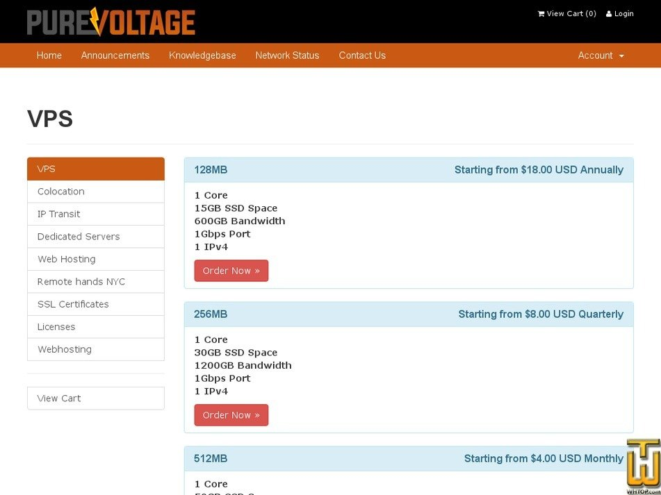 Screenshot of 1U Colocation New York from purevoltage.com