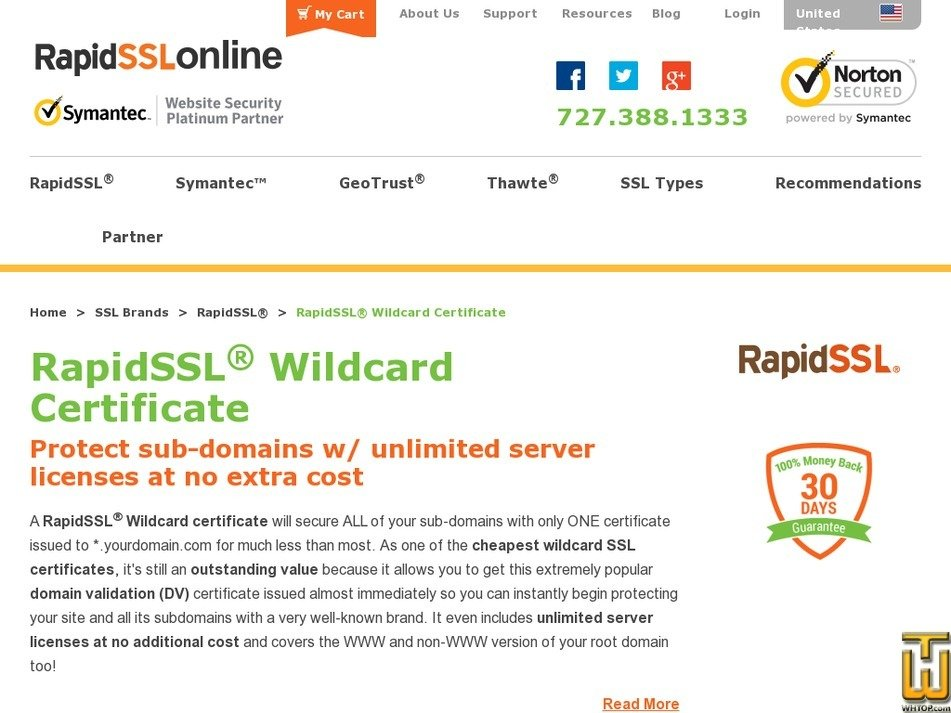 Screenshot of RapidSSL Wildcard for 1 Year from rapidsslonline.com