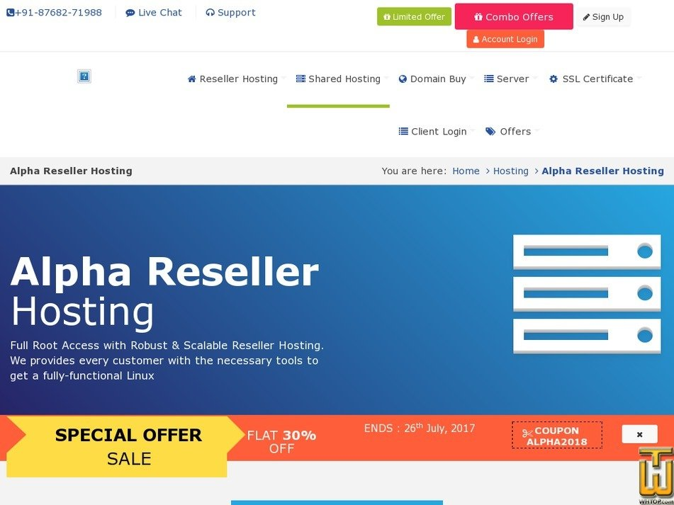 Screenshot of Alpha Reseller from rdxhost.info