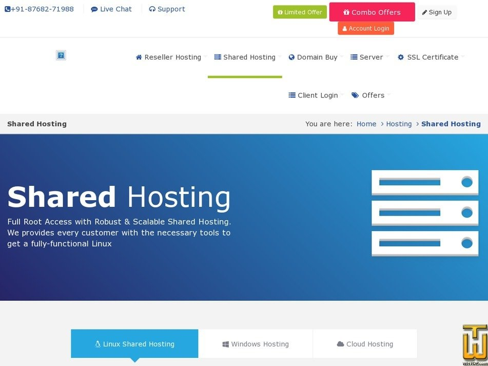 Screenshot of Shared hosting from rdxhost.info
