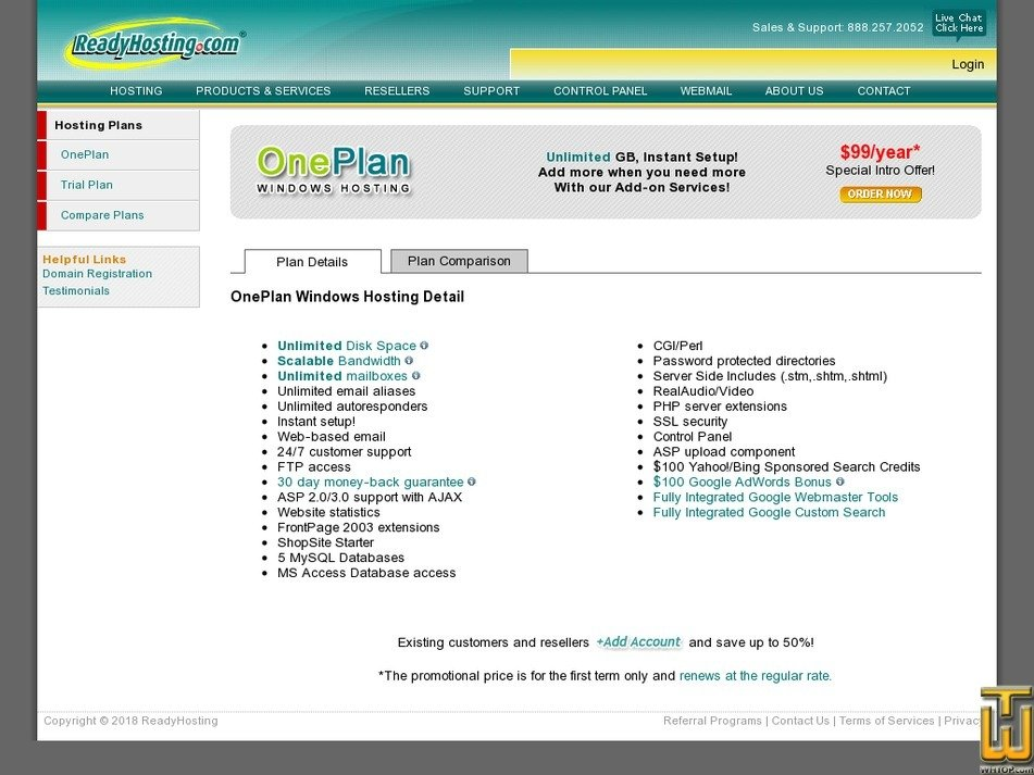 Screenshot of OnePlan from readyhosting.com