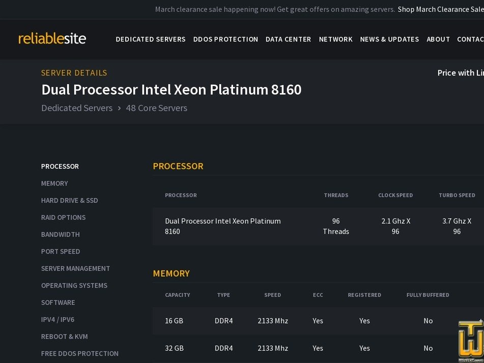 Screenshot of Dual Xeon Plat. 8160 from reliablesite.net