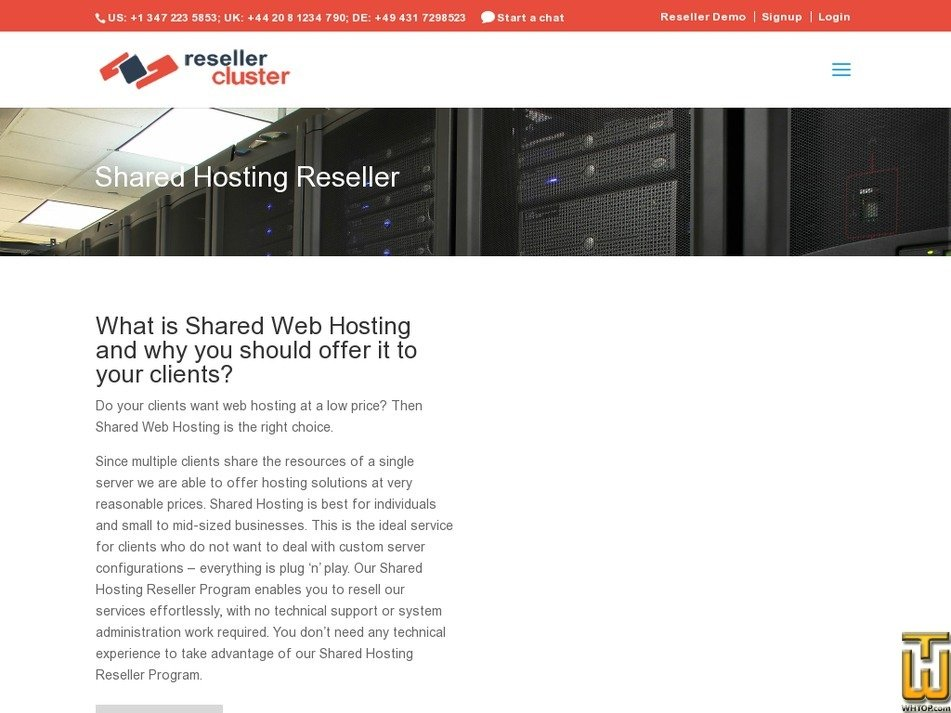 Screenshot of Business Hosting Plan from resellercluster.com