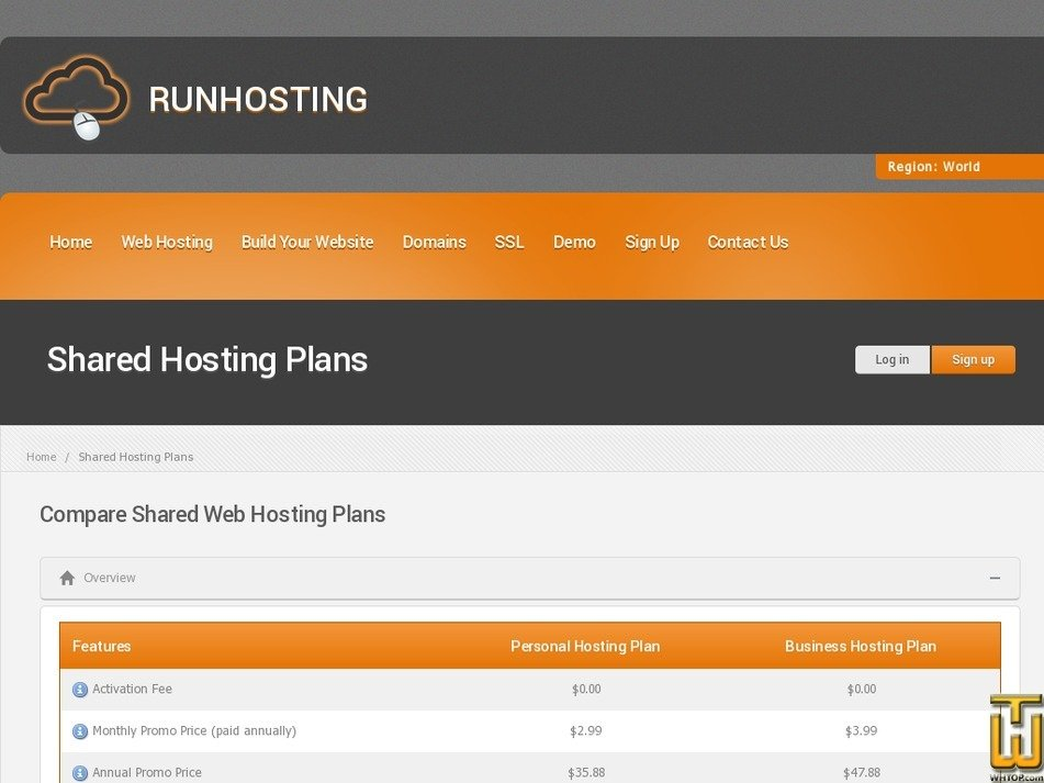 Screenshot of Personal Hosting Plan from runhosting.com