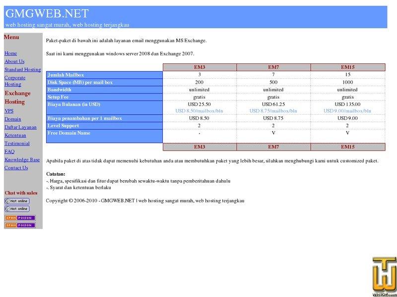 """Screenshot of paket exchange hosting """"EM3"""" from sangatmurah.net"""