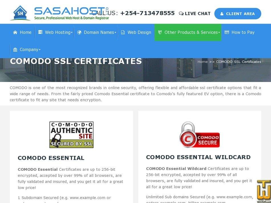 Screenshot of COMODO ESSENTIAL from sasahost.co.ke