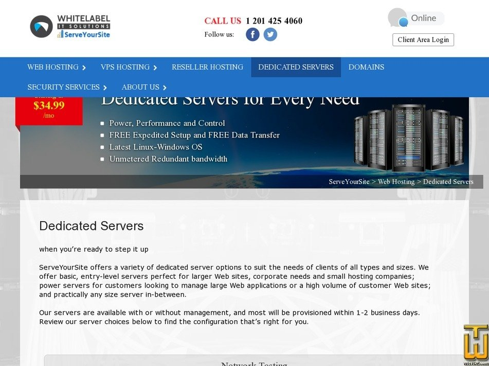 Screenshot of Advanced Server from serveyoursite.com