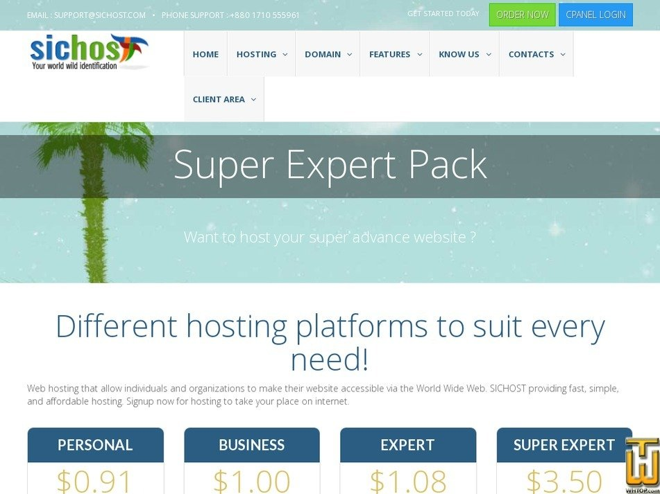 Screenshot of Super Expert from sichost.com