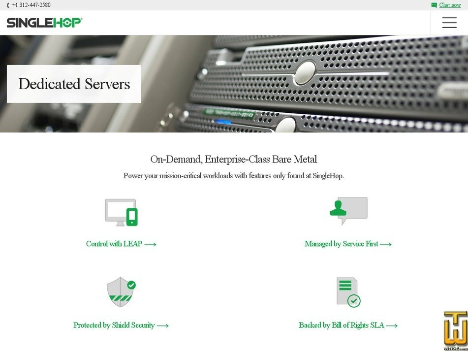 Screenshot of Lowest Priced Xeon in the Market from singlehop.com