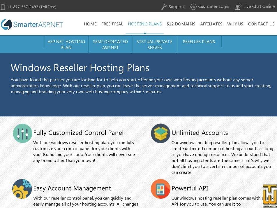 Screenshot of Reseller 100 from smarterasp.net