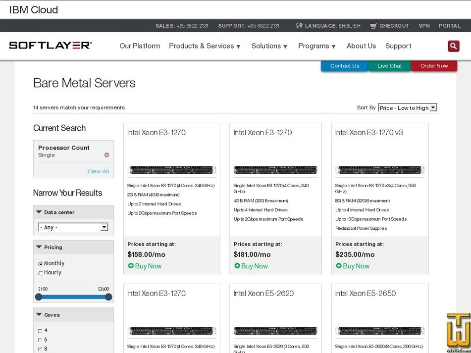 Screenshot of Single Processor from softlayer.com