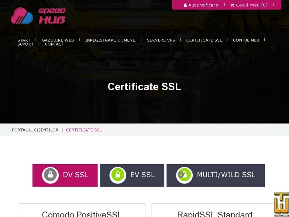 Screenshot of RapidSSL Standard from speedhub.eu