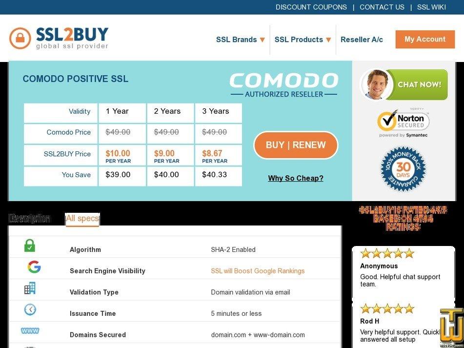 Screenshot of Comodo Positive SSL from ssl2buy.com