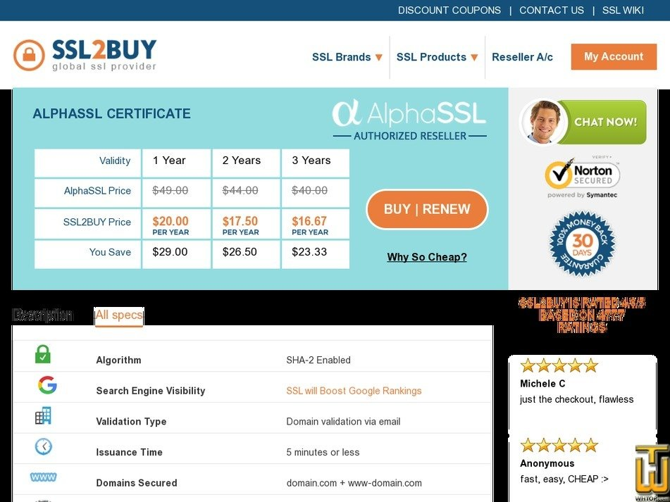 Screenshot of AlphaSSL Certificate from ssl2buy.com