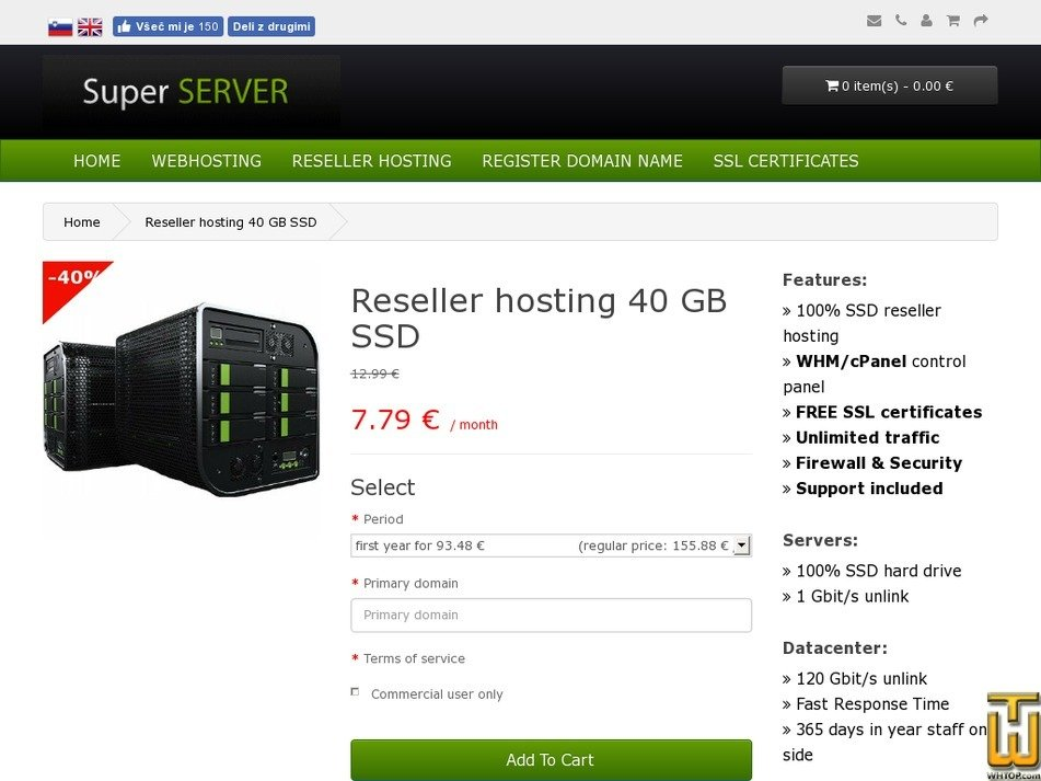 Screenshot of Reseller hosting 40 GB SSD from super-server.eu