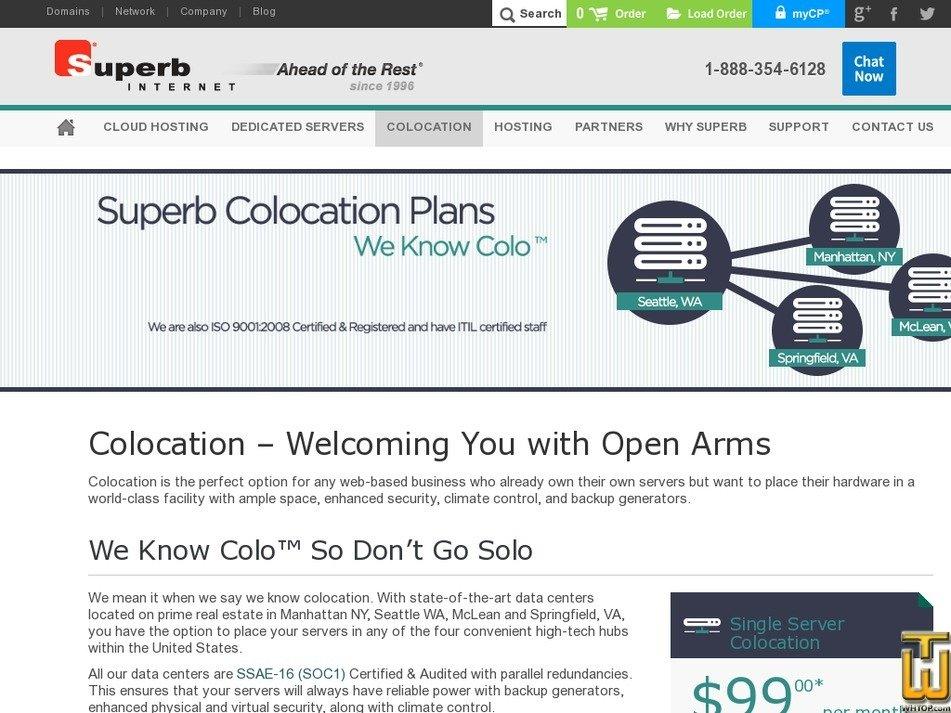 Screenshot of Single Server Colocation 1U-2U from superb.net