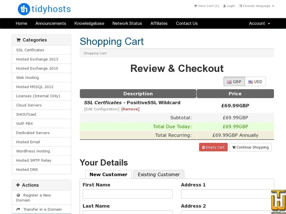 Screenshot of PositiveSSL Wildcard from tidyhosts.com