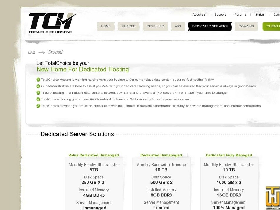 Screenshot of Dedicated Unmanaged from totalchoicehosting.com