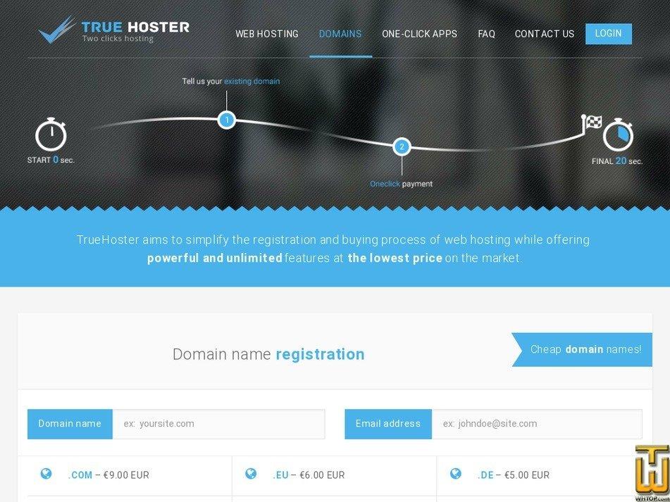 Screenshot of .com from truehoster.com