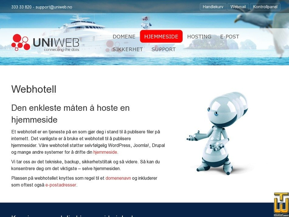 Screenshot of Simple website from uniweb.no