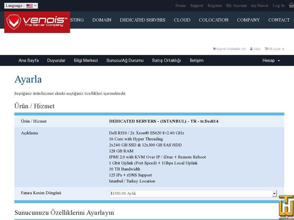 Screenshot of tr.Dedi-14 - Dell R510 - 2x Xeon® E5620 8×2.40 GHz from venois.net