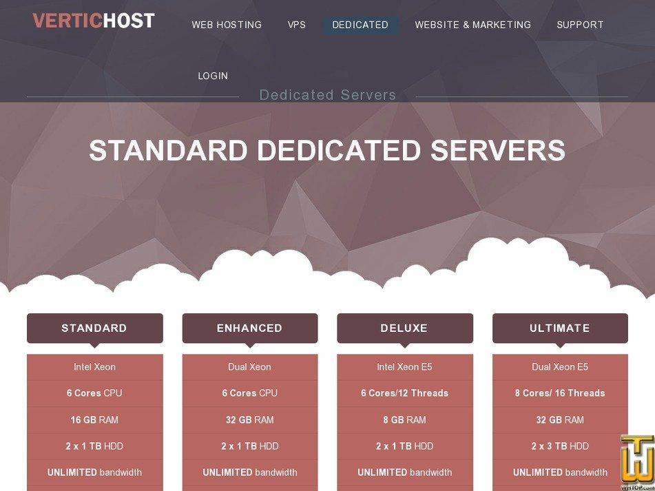 Screenshot of STANDARD Intel Xeon from vertichost.com