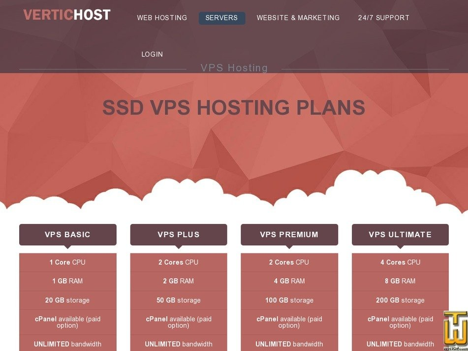 Screenshot of VPS with SSD PREMIUM from vertichost.com