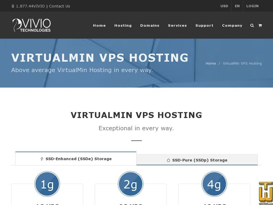 Screenshot of 8GB VirtualMin Linux VPS from viviotech.net