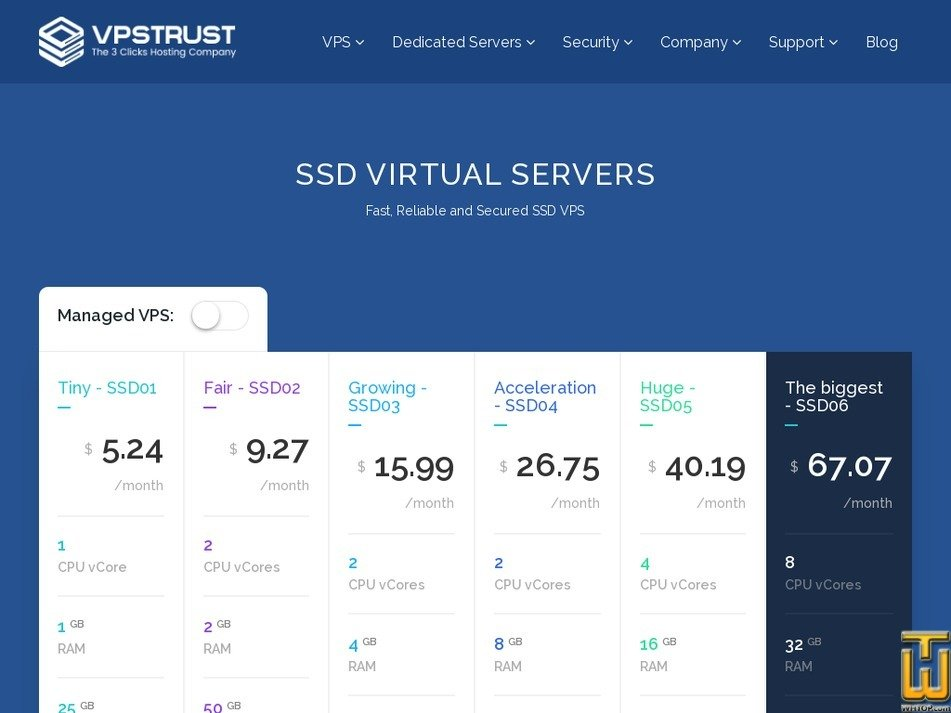 Screenshot of Huge - SSD05 from vpstrust.com