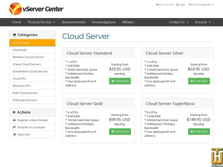 Screenshot of Windows Cloud Server Silver from vservercenter.com