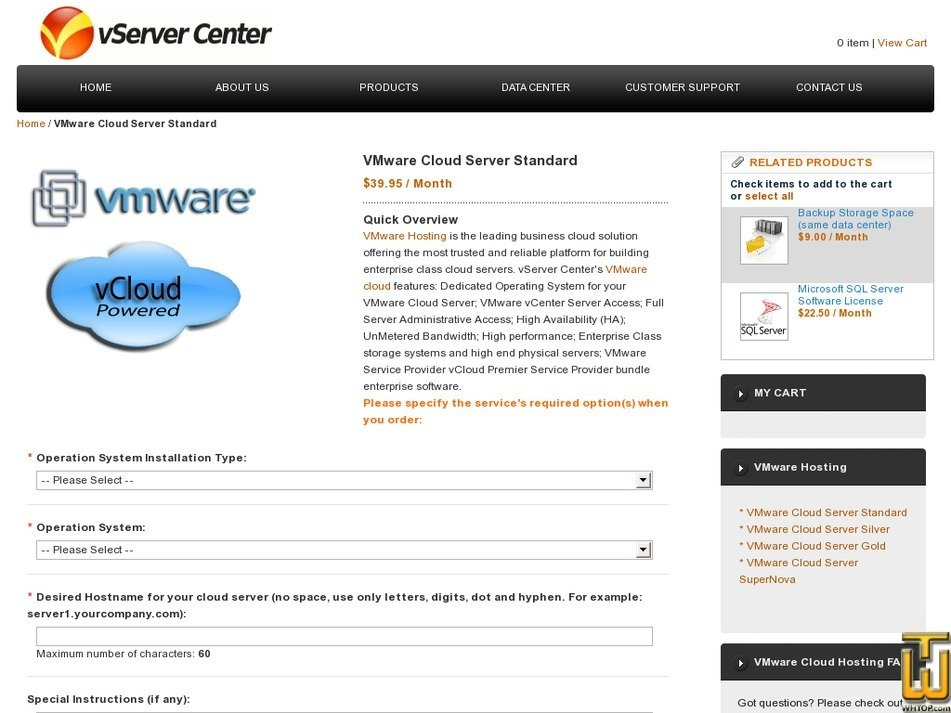 Screenshot of VMware Cloud Server Standard from vservercenter.com