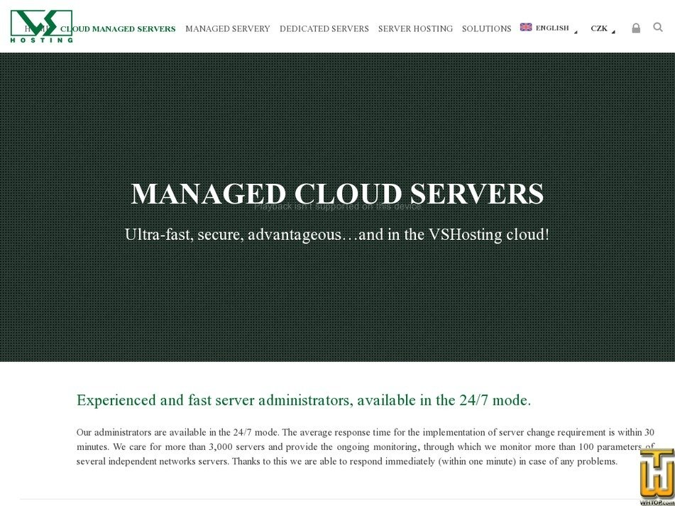Screenshot of Cloud Managed server - 12x vCPU, 24GB DDR3 RAM, 500GB SSD from vshosting.cz
