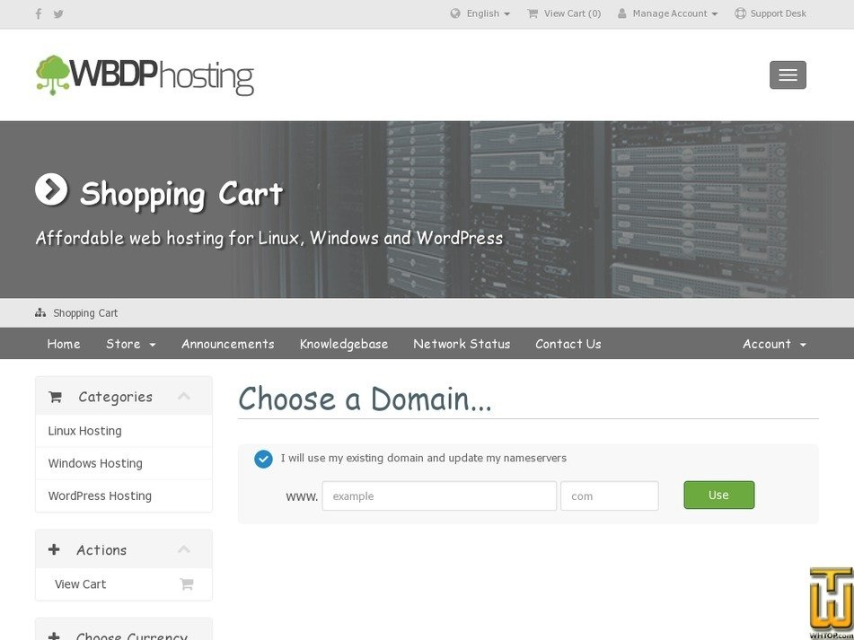 Screenshot of WordPress Bronze Hosting from wbdphosting.co.uk