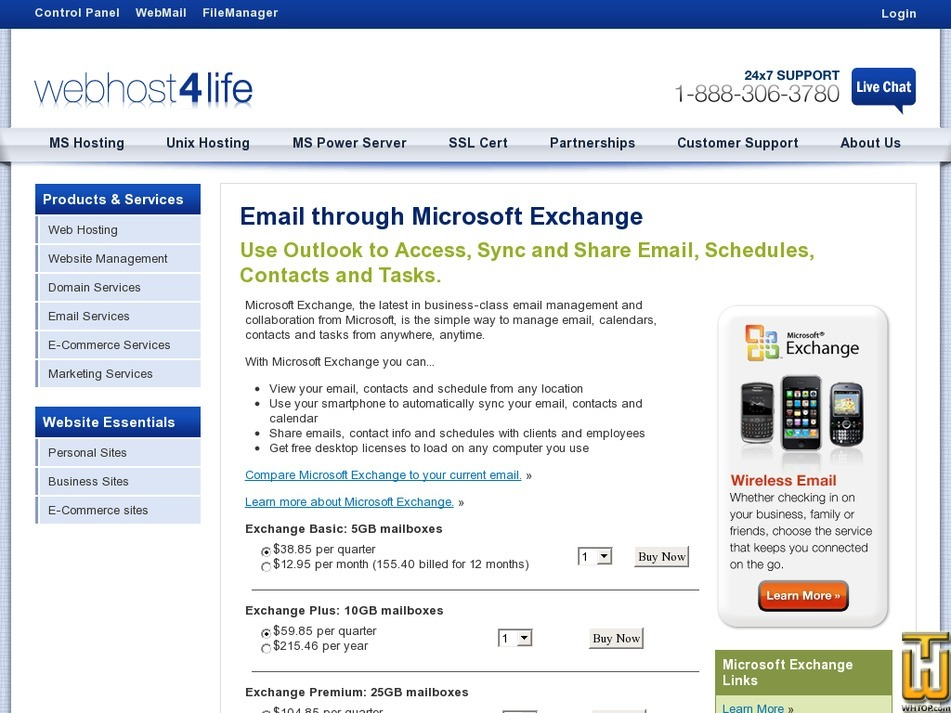 Screenshot of Exchange Basic: 5GB from webhost4life.com
