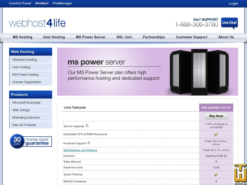 Screenshot of MS Power Server from webhost4life.com