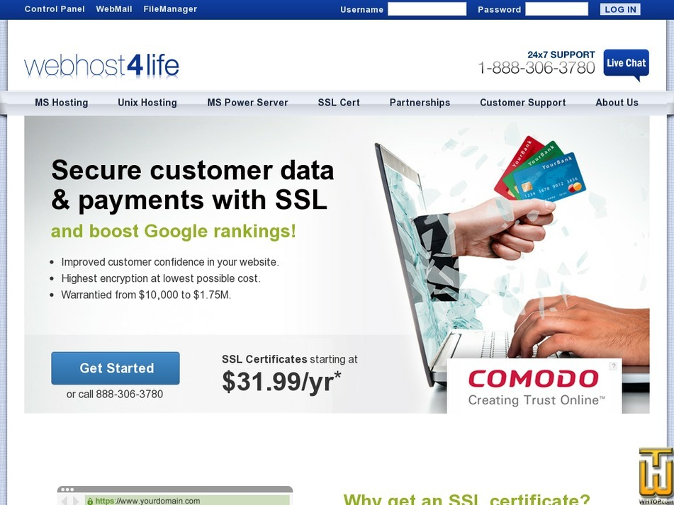 Screenshot of Extended Validated SSL from webhost4life.com