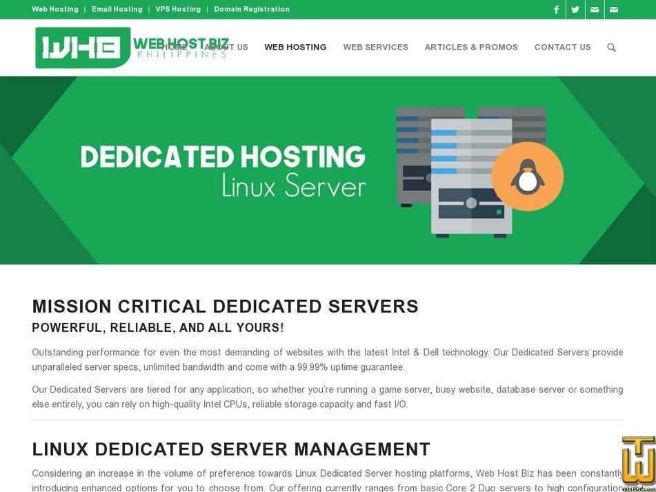 Screenshot of Standard E3 Dedicated Server from webhostbiz.com.ph