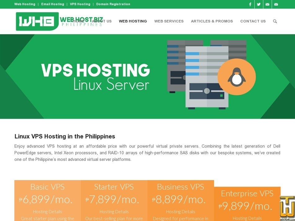 Screenshot of Linux Business VPS from webhostbiz.com.ph
