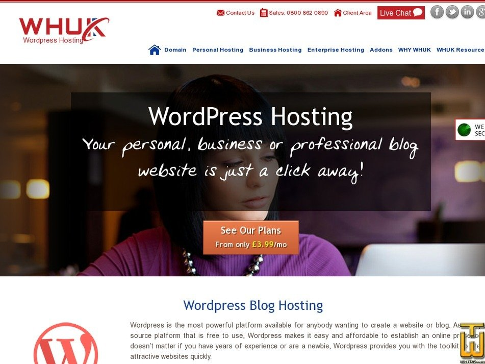 Screenshot of Wordpress Starter from webhosting.uk.com