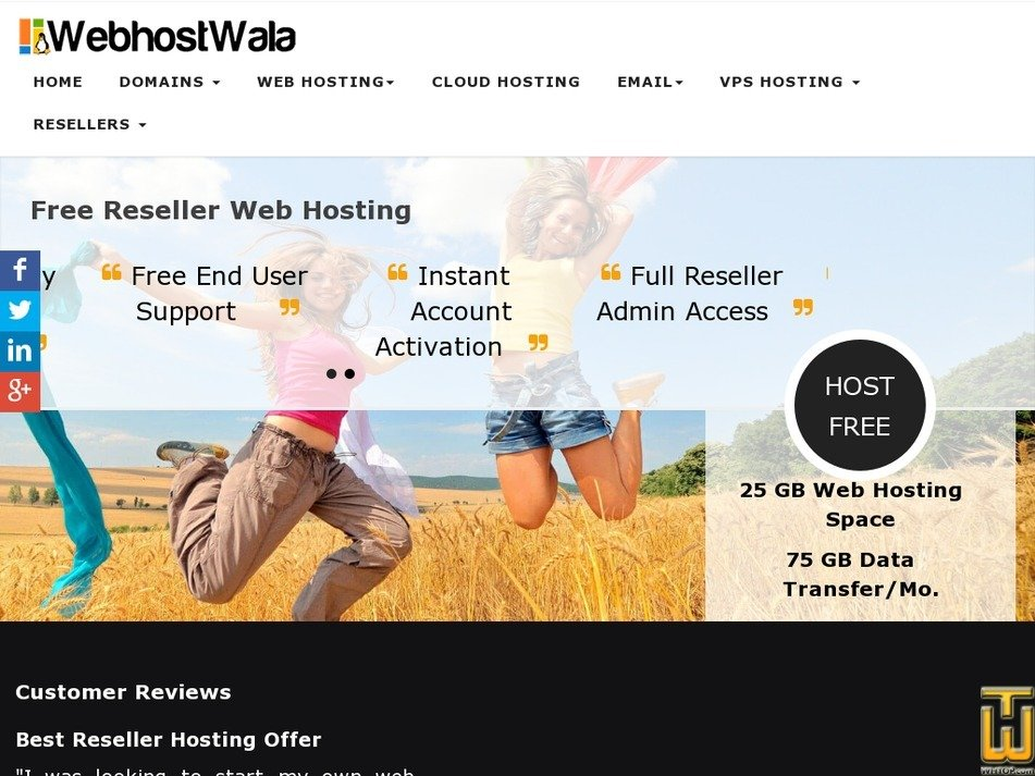 Screenshot of FREE RESELLER HOSTING from webhostwala.com