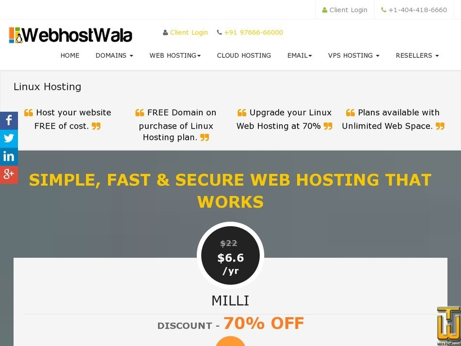 Screenshot of FREE HOSTING from webhostwala.com