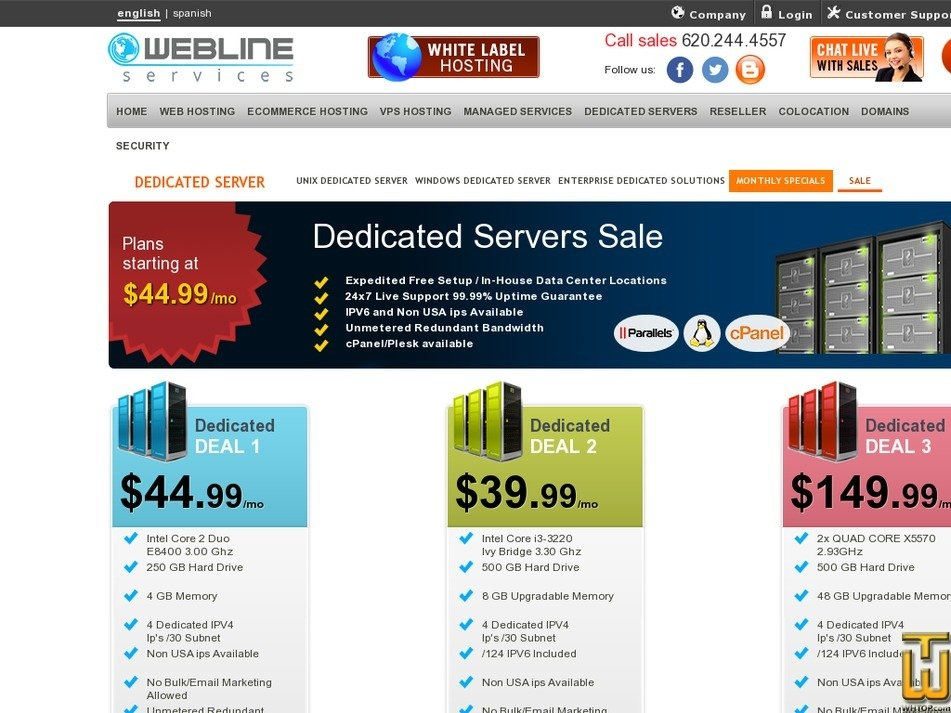 Screenshot of Dedicated DEAL 3 from webline-services.com