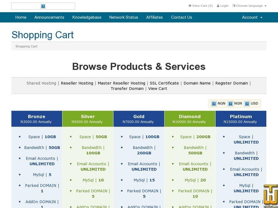 Screenshot of Silver from webnaira.com.ng