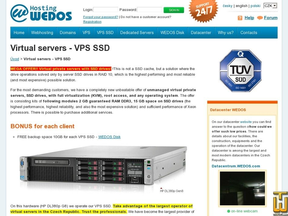 Screenshot of VPS SSD (minimum) from wedos.com