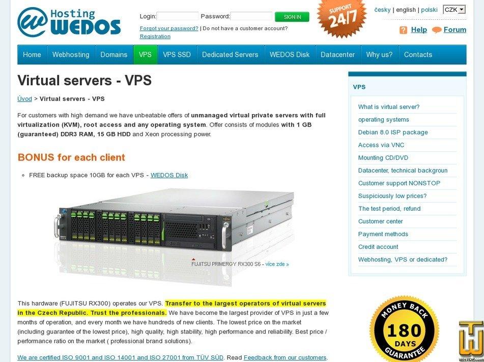 Screenshot of Virtual server (minimum) from wedos.com