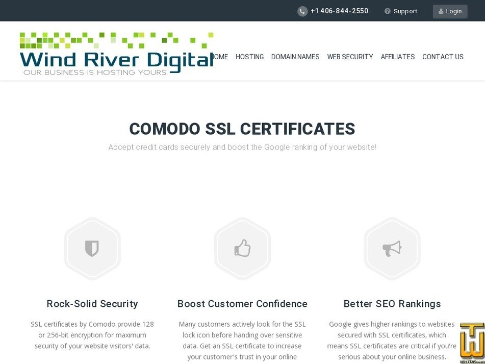 Screenshot of Standard SSL from windriverdigital.com