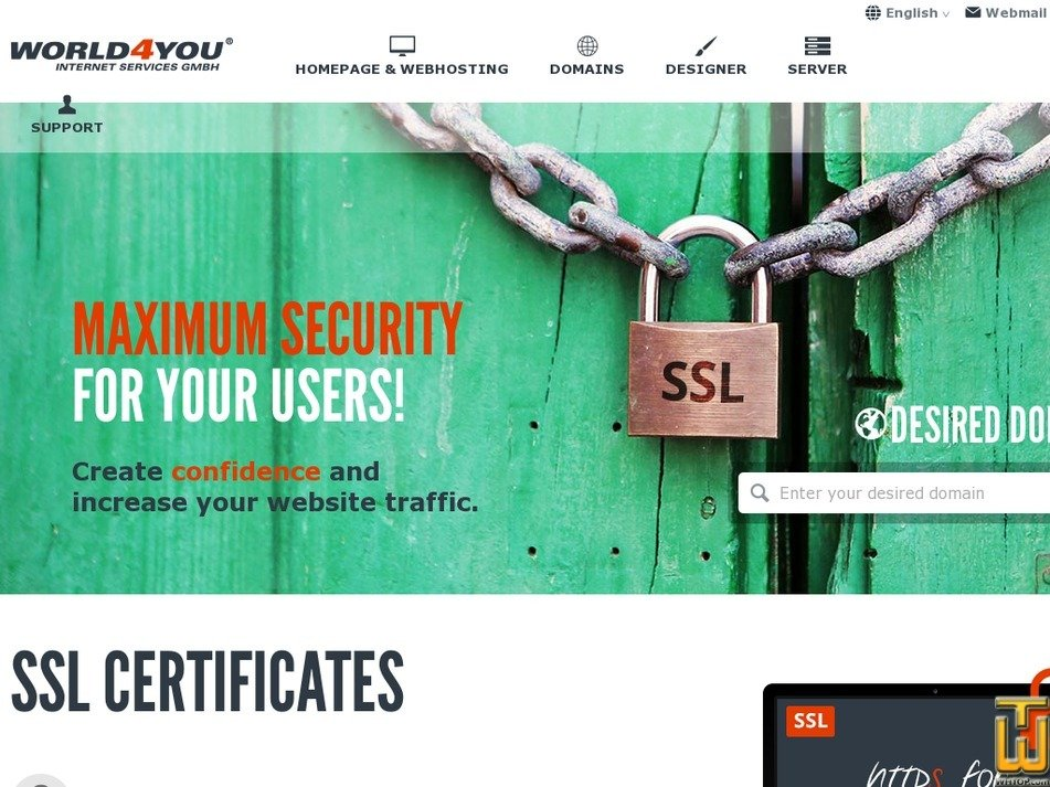 Screenshot of Standard SSL from world4you.com