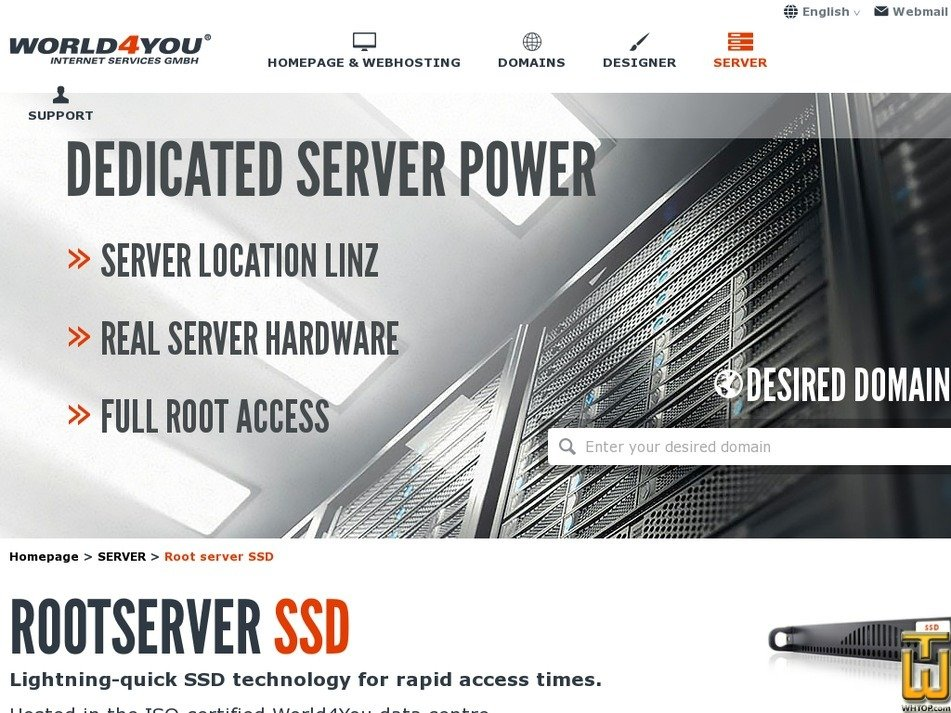 Screenshot of Root server SSD from world4you.com