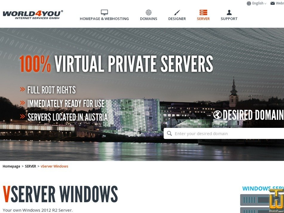 Screenshot of Vserver Windows from world4you.com